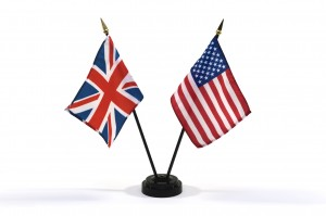United Kingdom and USA miniature flags