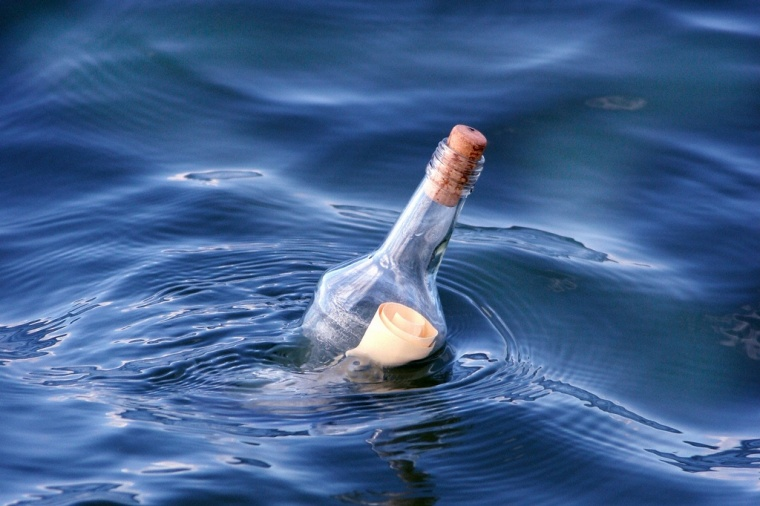 PIC Message in a bottle to the sea.